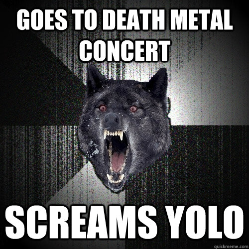 goes to death metal concert screams yolo - Insanity Wolf