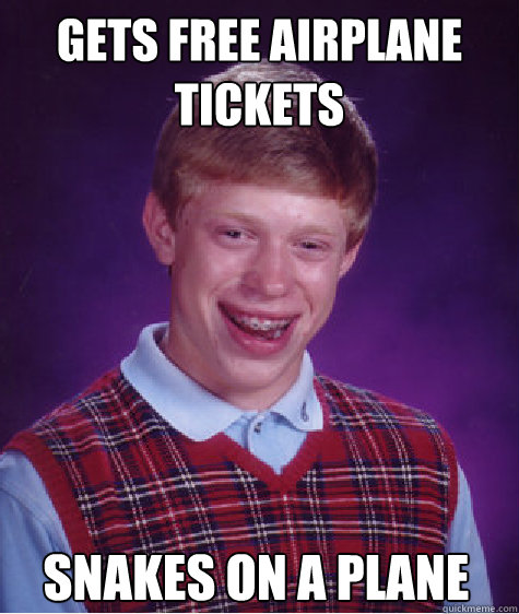 gets free airplane tickets snakes on a plane - Bad Luck Brian