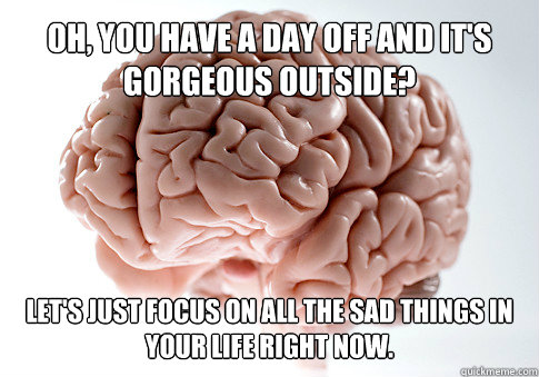 oh you have a day off and its gorgeous outside lets just - Scumbag Brain