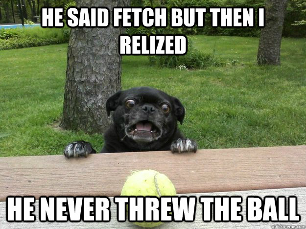 he said fetch but then i relized he never threw the ball  - Berks Dog
