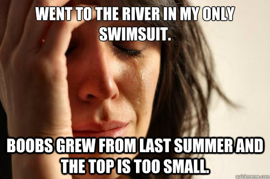 went to the river in my only swimsuit boobs grew from last  - First World Problems
