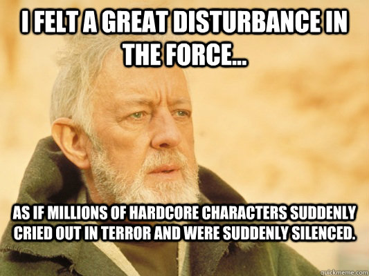 i felt a great disturbance in the force as if millions of - Obi Wan