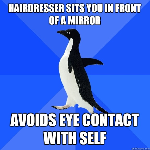 Hairdresser sits you in front of a mirror Avoids eye contact - Socially Awkward Penguin