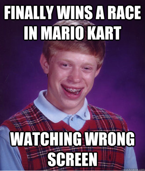 finally wins a race in mario kart watching wrong screen - BLB car