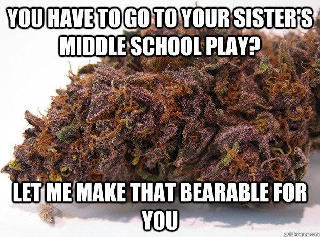 you have to go to your sisters middle school play let me m - Good Guy Marijuana
