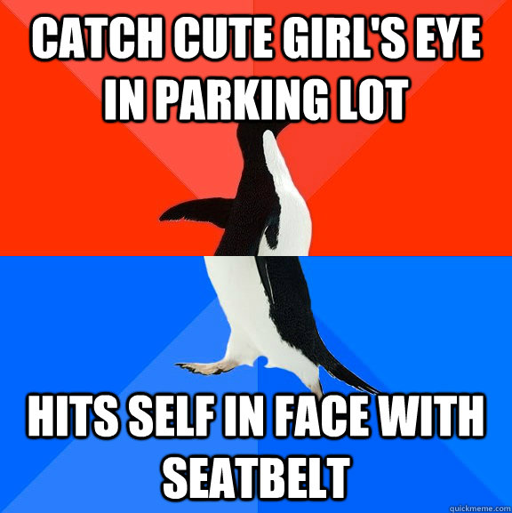 catch cute girls eye in parking lot hits self in face with  - Socially Awesome Awkward Penguin