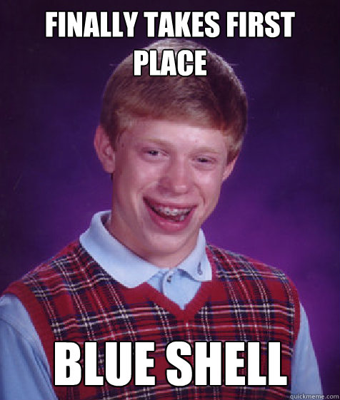 finally takes first place blue shell - Bad Luck Brian