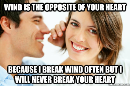 wind is the opposite of your heart because i break wind ofte - Bad Pick-up line Paul