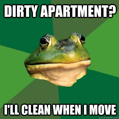 dirty apartment ill clean when i move - Foul Bachelor Frog