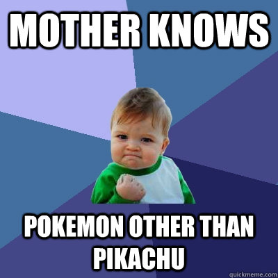 mother knows pokemon other than pikachu - Success Kid