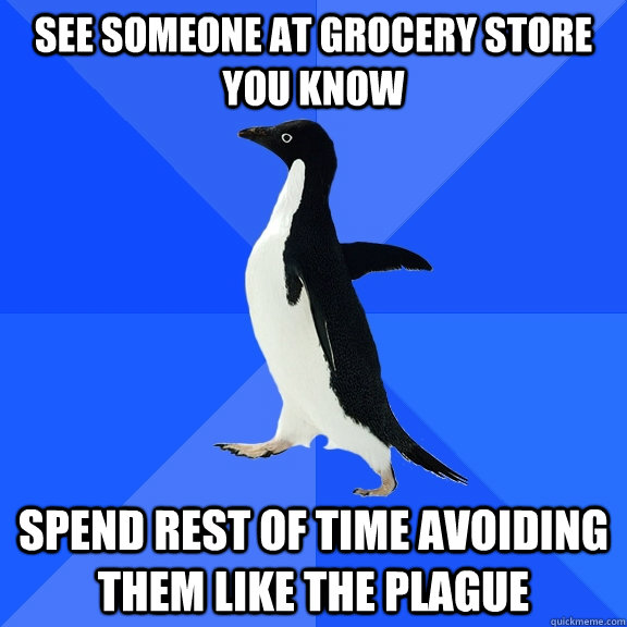 see someone at grocery store you know spend rest of time avo - Socially Awkward Penguin