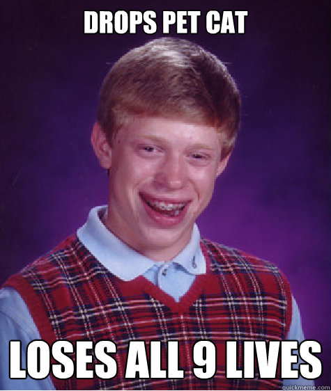 drops pet cat loses all 9 lives - Bad Luck Brian