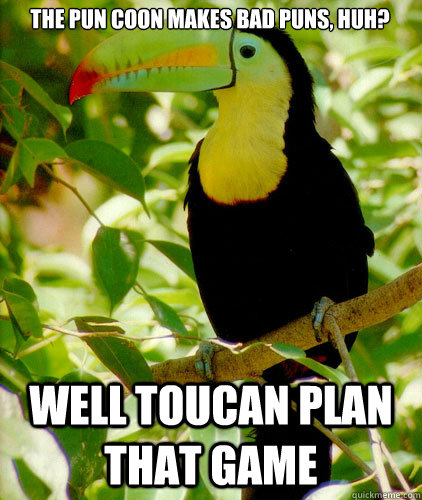 the pun coon makes bad puns huh well toucan plan that game - 