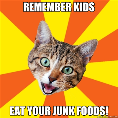 REMEMBER KIDS EAT YOUR JUNK FOODS! - Bad Advice Cat