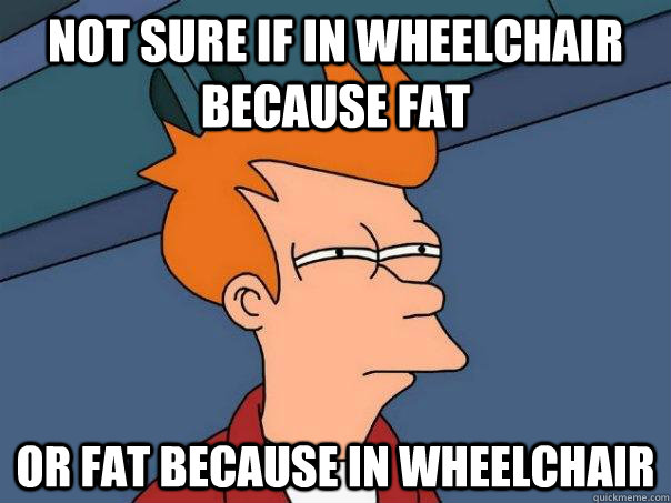 not sure if in wheelchair because fat or fat because in whee - Futurama Fry