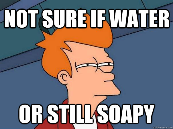 not sure if water or still soapy - Futurama Fry