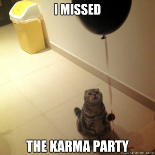 i missed the karma party - Sad Birthday Cat