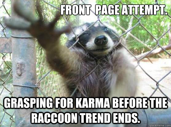 front page attempt grasping for karma before the raccoon t - Angry Raccoon