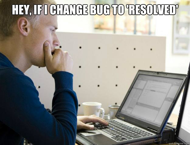 hey if i change bug to resolved does that mean its fixed - Programmer