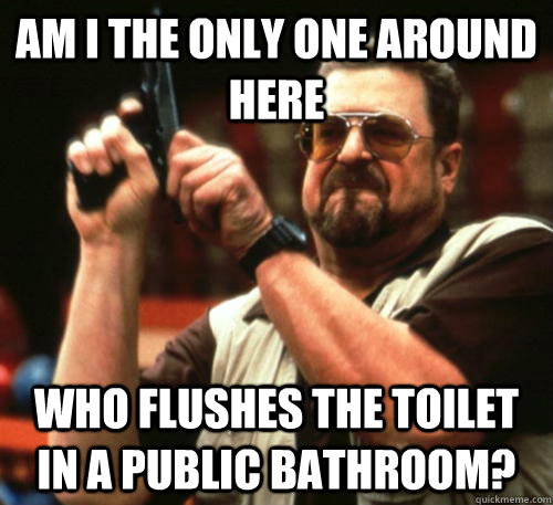 am i the only one around here who flushes the toilet in a pu - Am I The Only One Around Here