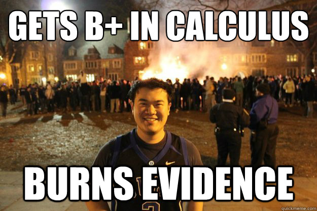 gets b in calculus burns evidence -