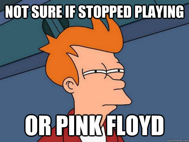 not sure if stopped playing or pink floyd - Futurama Fry