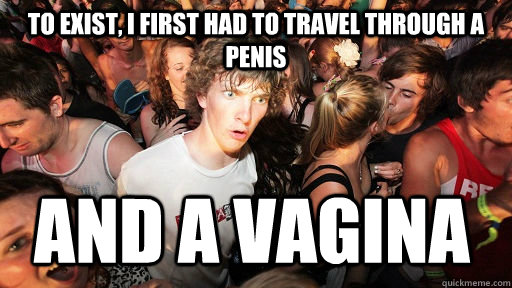 to exist i first had to travel through a penis and a vagina - Sudden Clarity Clarence