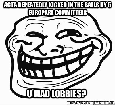 u mad lobbies acta repeatedly kicked in the balls by 5 euro - TROLL FACE