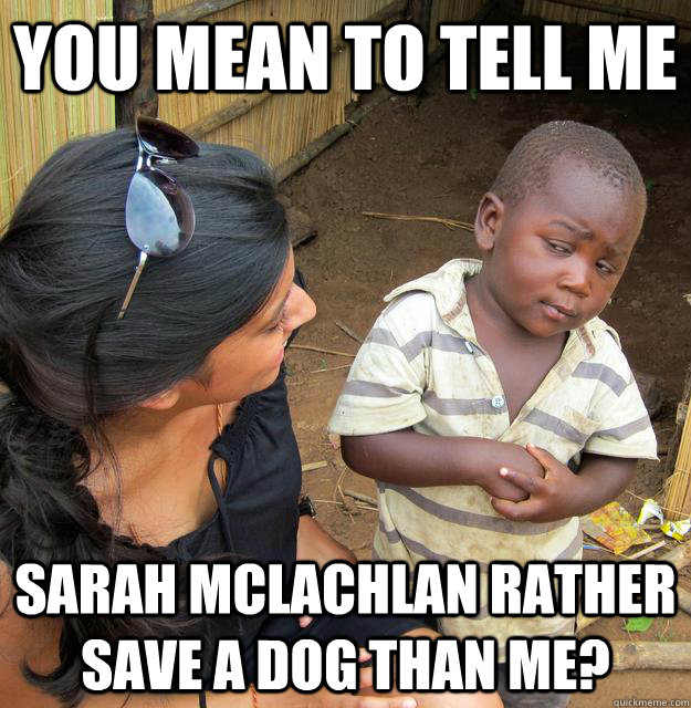 you mean to tell me sarah mclachlan rather save a dog than m - Skeptical Third World Kid