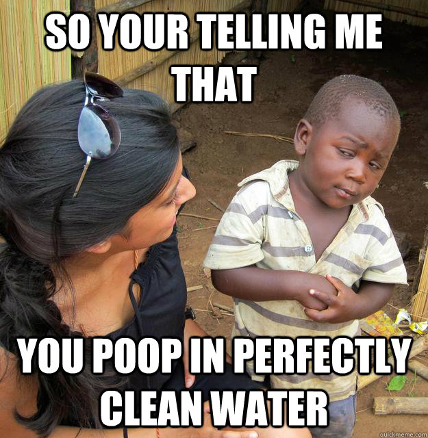 so your telling me that you poop in perfectly clean water - Skeptical Third World Kid