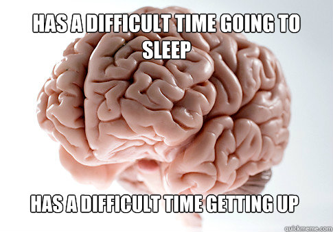 has a difficult time going to sleep has a difficult time ge - Scumbag Brain