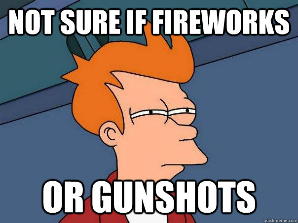not sure if fireworks or gunshots - Futurama Fry