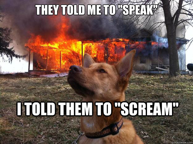 they told me to speak i told them to scream - Bad Dog