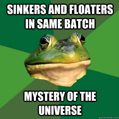 sinkers and floaters in same batch mystery of the universe - Foul Bachelor Frog