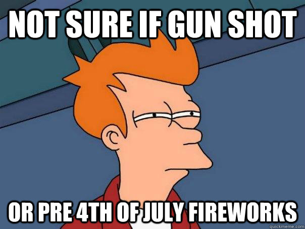 not sure if gun shot or pre 4th of july fireworks - Futurama Fry