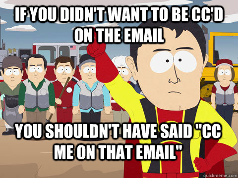 if you didnt want to be ccd on the email you shouldnt hav - Captain Hindsight