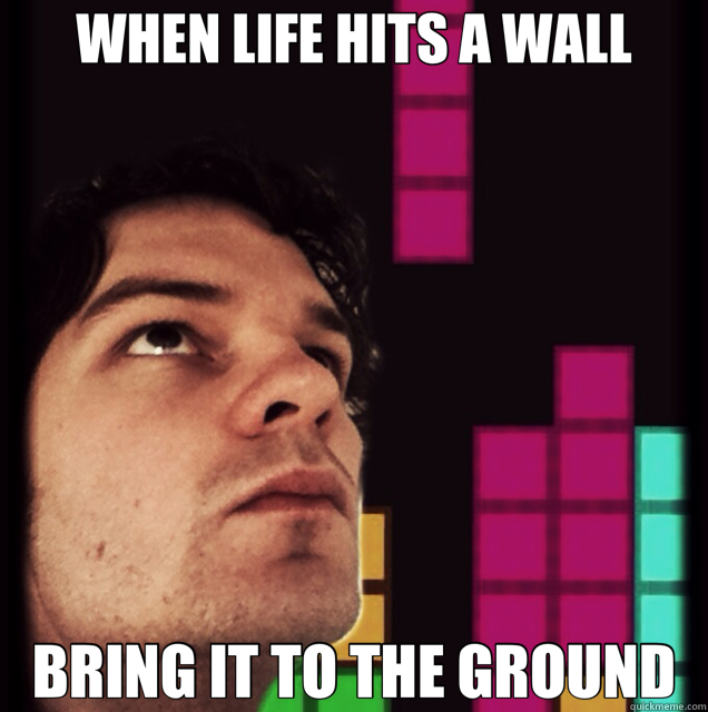 WHEN LIFE HITS A WALL BRING IT TO THE GROUND - Tetris Philosopher