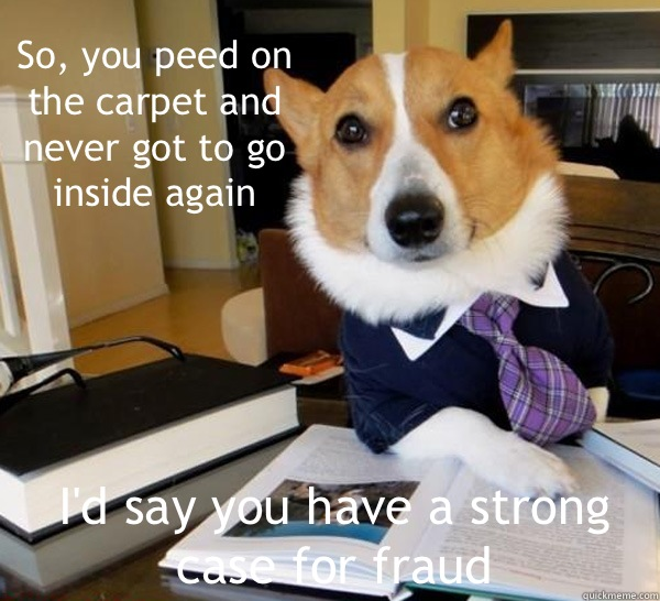So you peed on the carpet and never got to go inside again I - Lawyer Dog