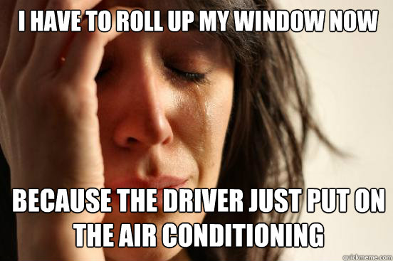 i have to roll up my window now because the driver just put  - First World Problems