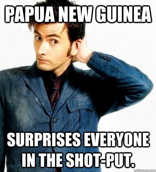 papua new guinea surprises everyone in the shotput - 