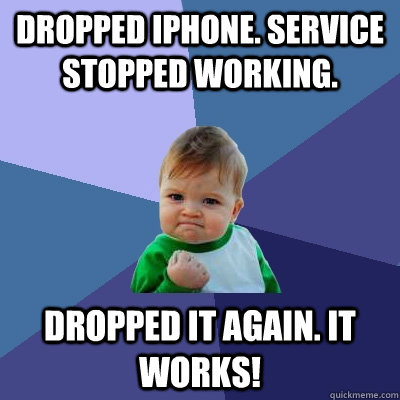 dropped iphone service stopped working dropped it again i - Success Kid