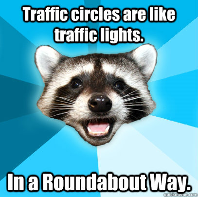 traffic circles are like traffic lights in a roundabout way - Lame Pun Coon