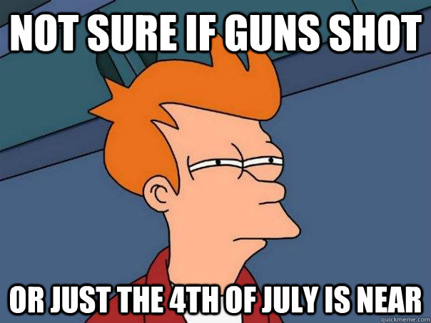 not sure if guns shot or just the 4th of july is near - Futurama Fry