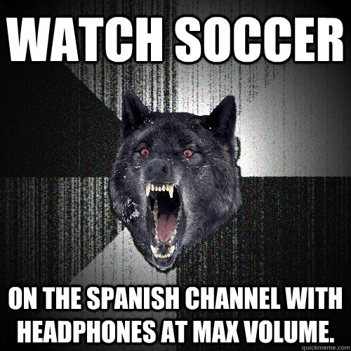 watch soccer on the spanish channel with headphones at max  - Insanity Wolf