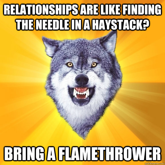 relationships are like finding the needle in a haystack bri - Courage Wolf