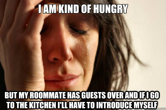 i am kind of hungry but my roommate has guests over and if i - First World Problems