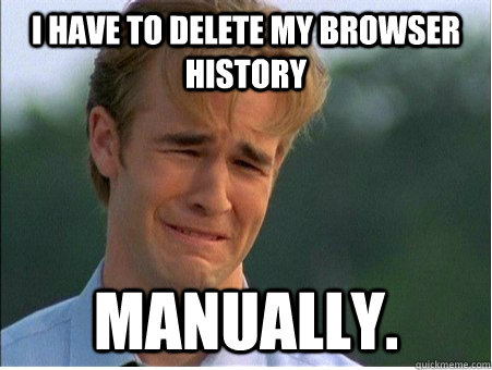 i have to delete my browser history manually - 1990s Problems