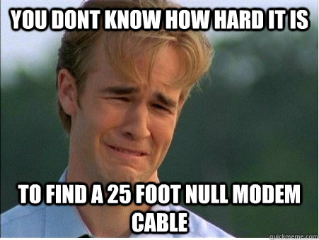 you dont know how hard it is to find a 25 foot null modem ca - 1990s Problems