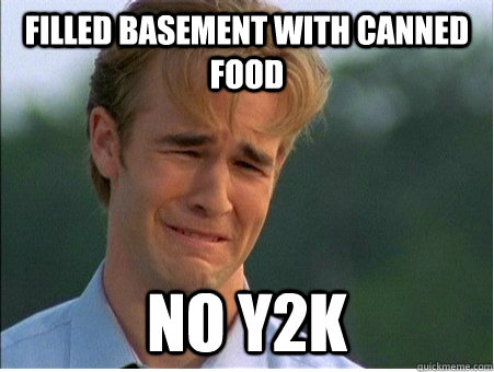 filled basement with canned food no y2k -