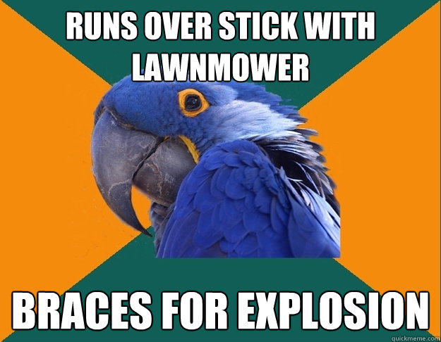 runs over stick with lawnmower braces for explosion - Paranoid Parrot